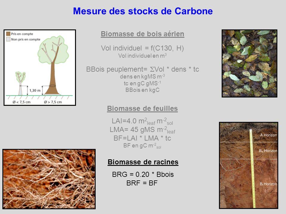 Mesure des stocks de Carbone Biomasse de bois aérien