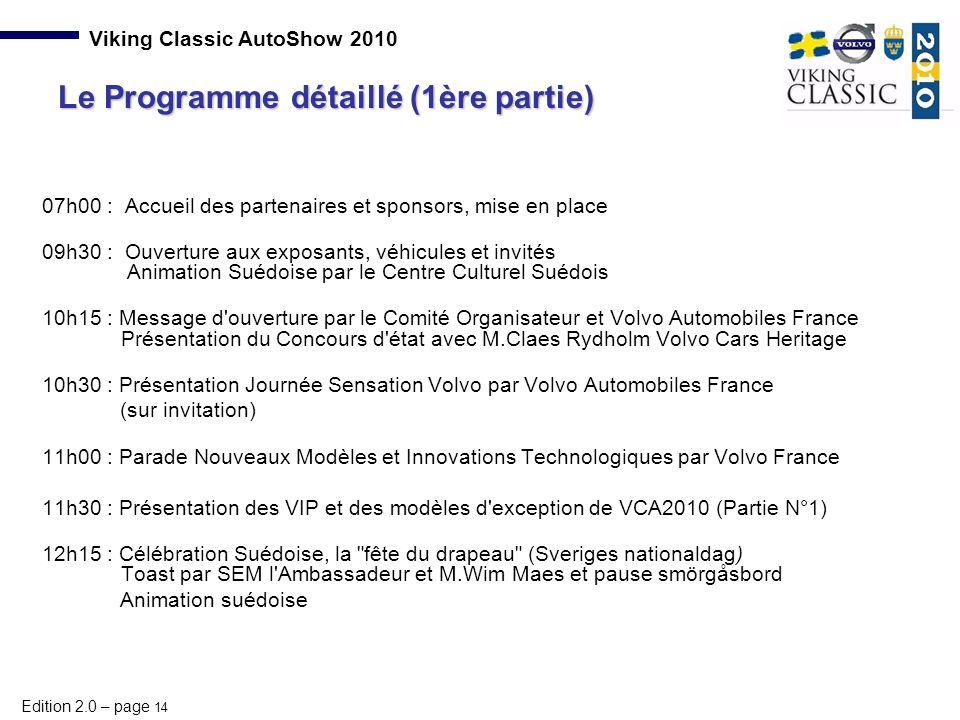 Le Programme détaillé (1ère partie)