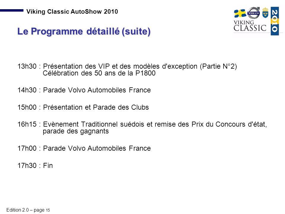 Le Programme détaillé (suite)