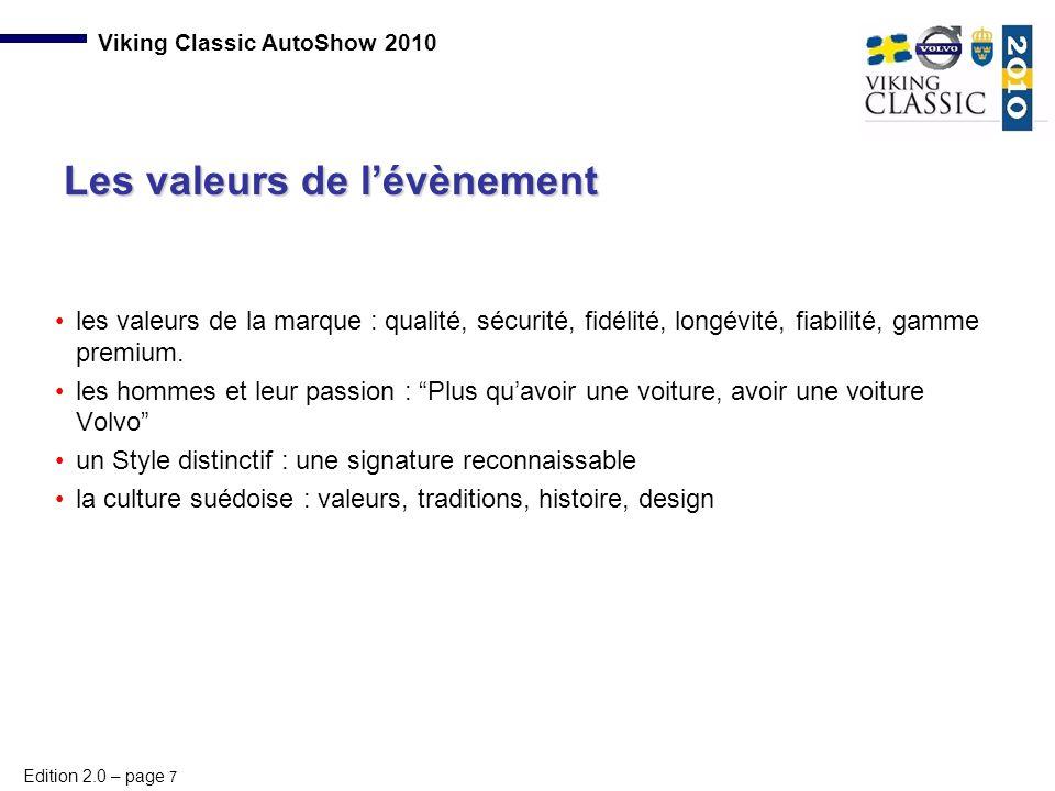 Les valeurs de l'évènement