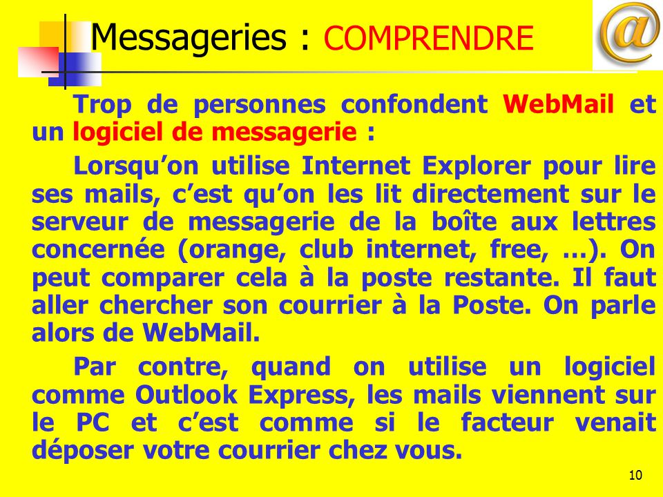 Messageries : COMPRENDRE