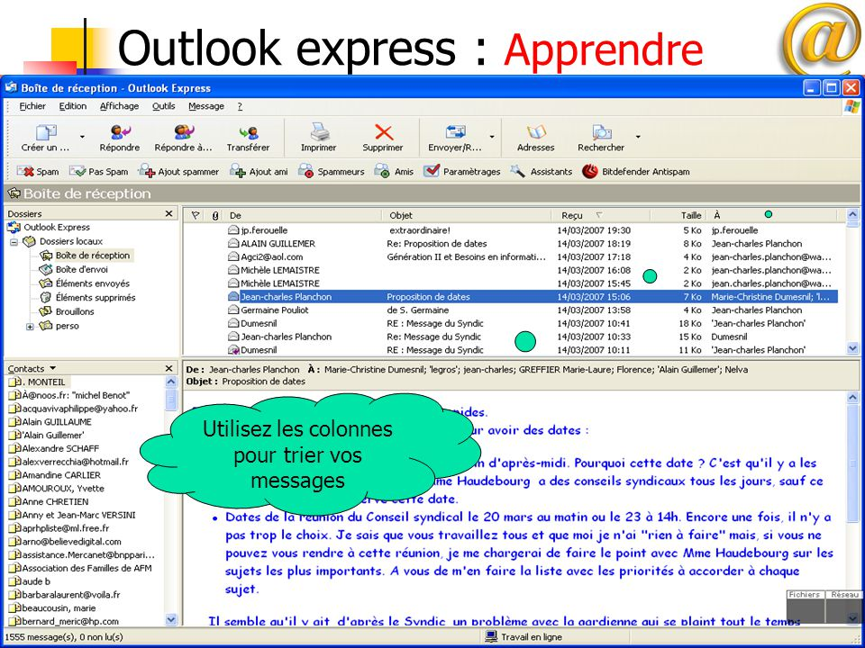Outlook express : Apprendre