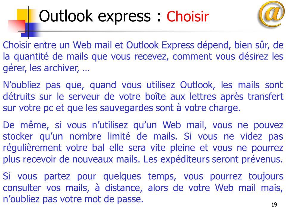 Outlook express : Choisir