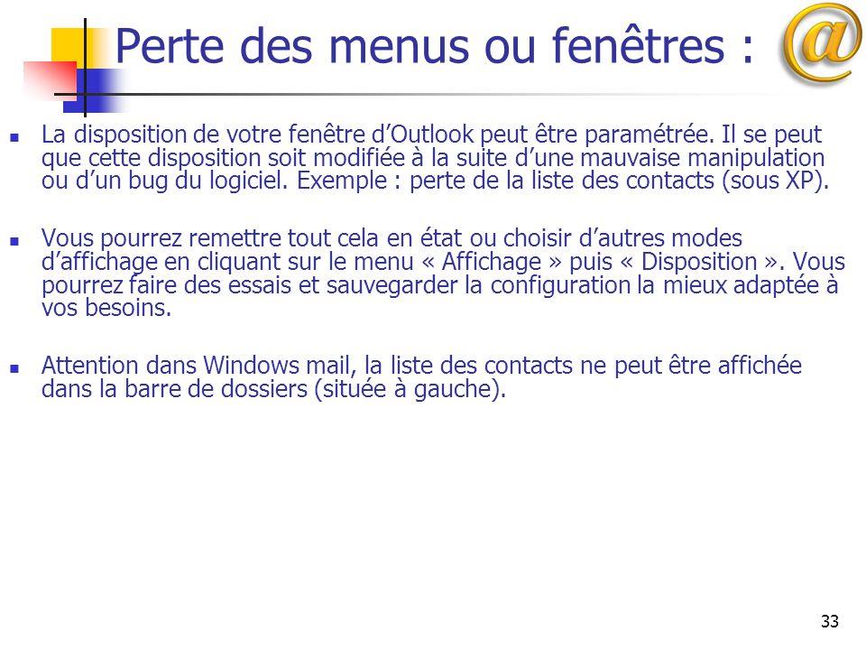 Perte des menus ou fenêtres :