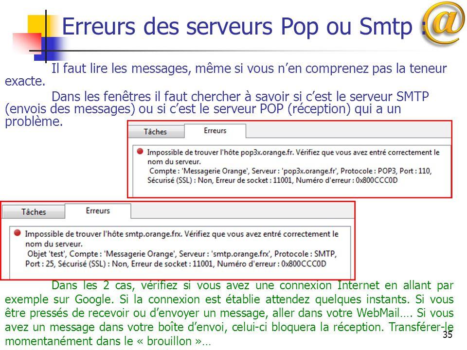 Erreurs des serveurs Pop ou Smtp :