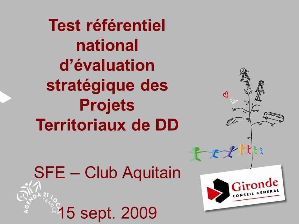 Test référentiel national d'évaluation stratégique des Projets Territoriaux de DD