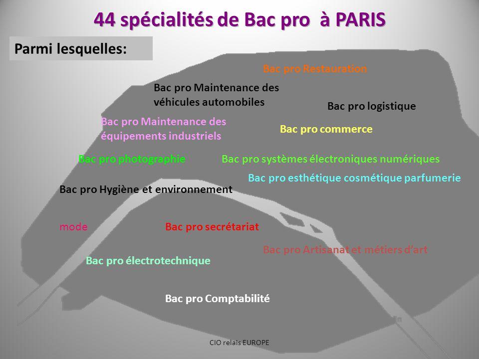 44 spécialités de Bac pro à PARIS