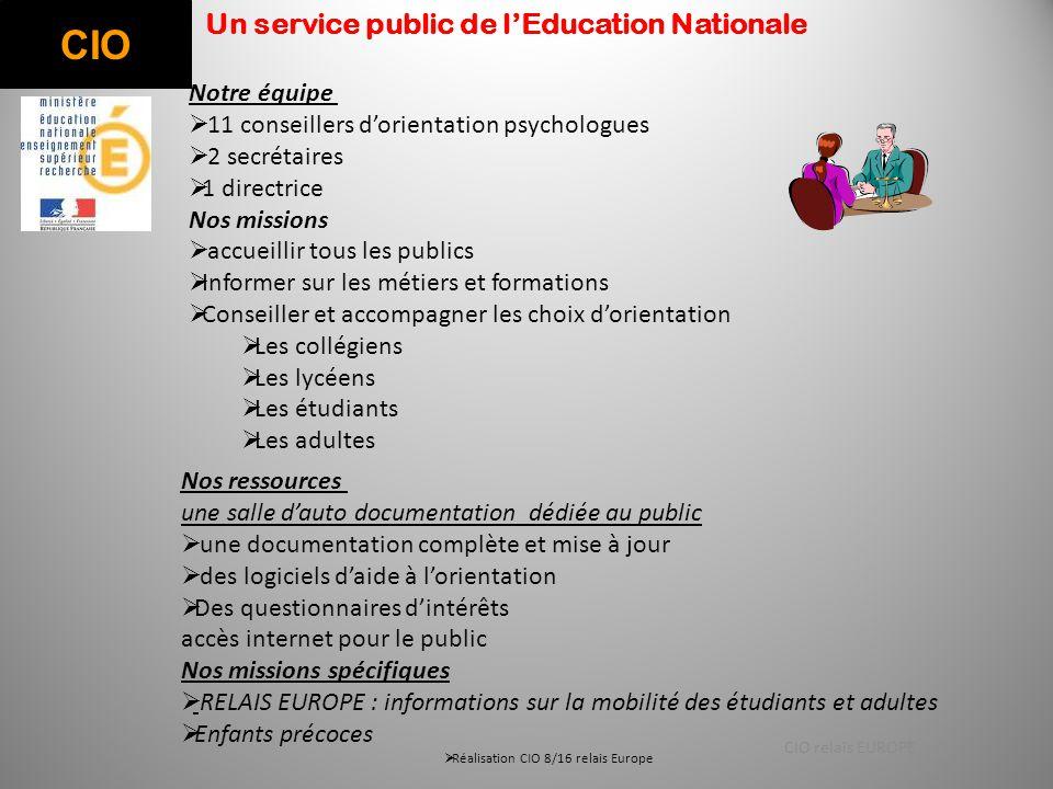 CIO Un service public de l'Education Nationale Notre équipe