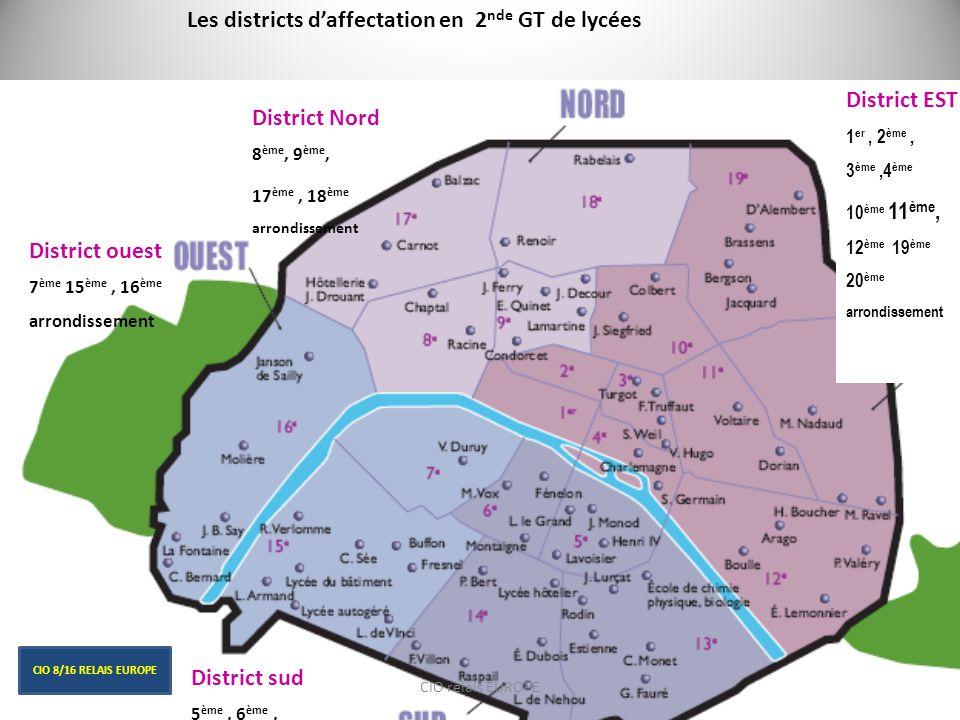 Les districts d'affectation en 2nde GT de lycées