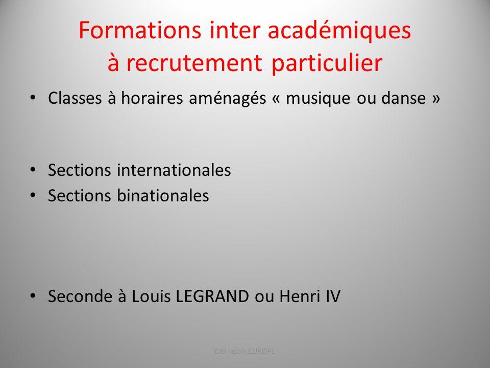 Formations inter académiques à recrutement particulier
