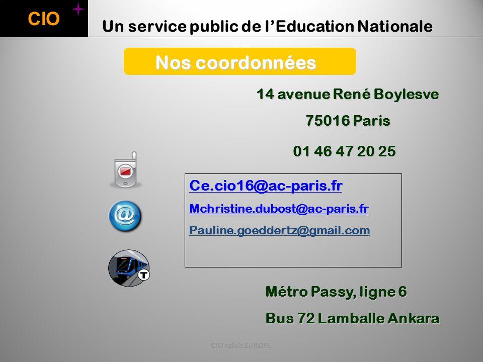 CIO Nos coordonnées Un service public de l'Education Nationale