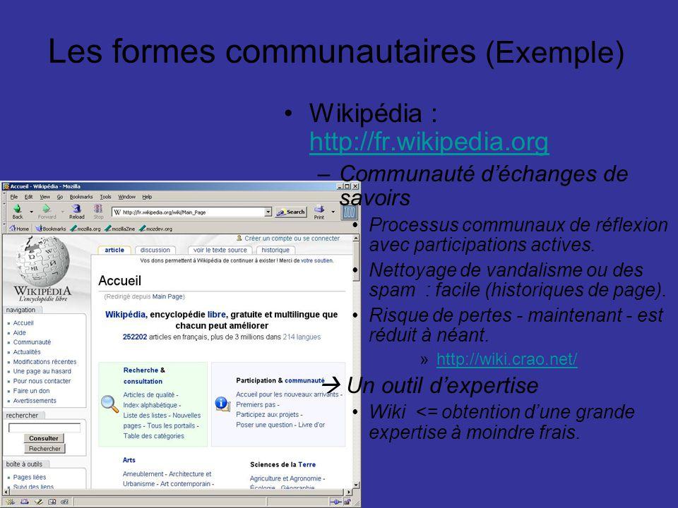 Les formes communautaires (Exemple)