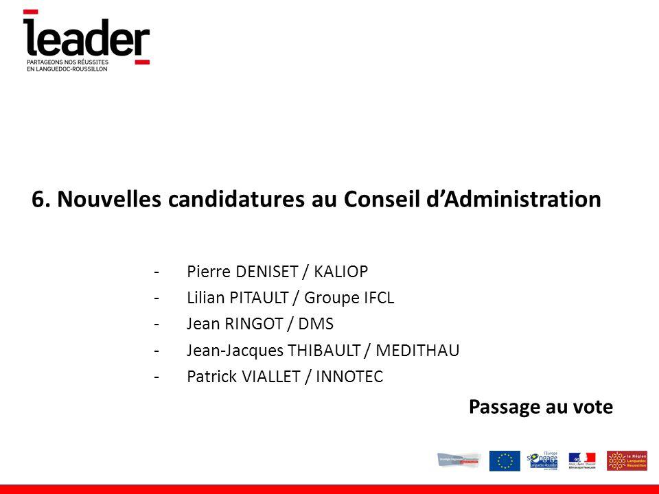 6. Nouvelles candidatures au Conseil d'Administration