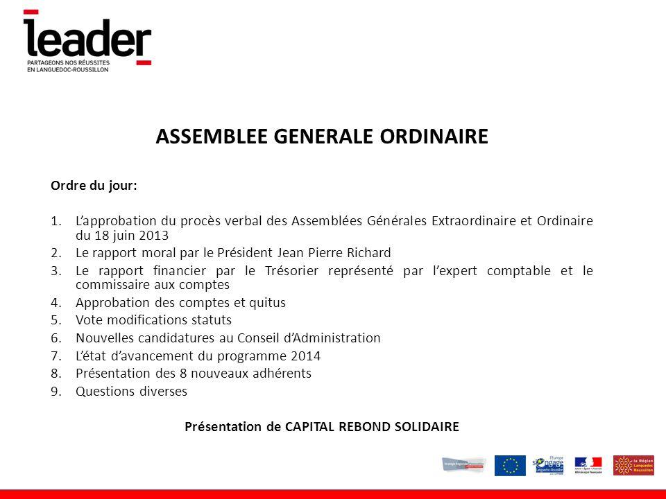 ASSEMBLEE GENERALE ORDINAIRE Présentation de CAPITAL REBOND SOLIDAIRE