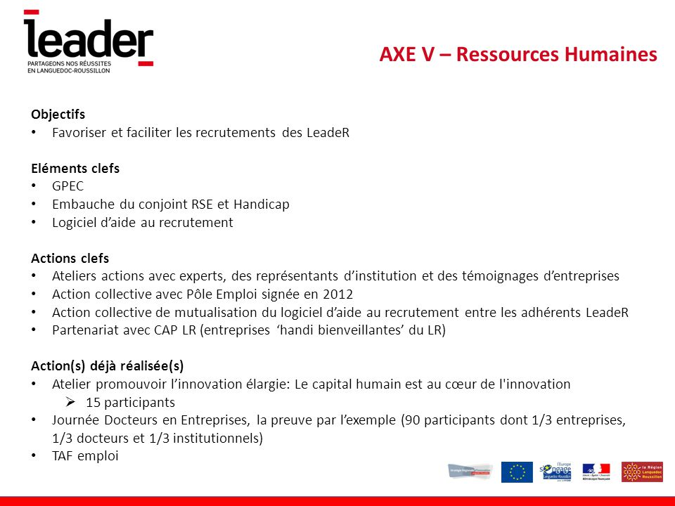 AXE V – Ressources Humaines