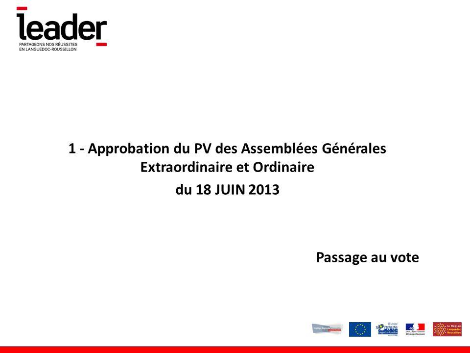 1 - Approbation du PV des Assemblées Générales Extraordinaire et Ordinaire