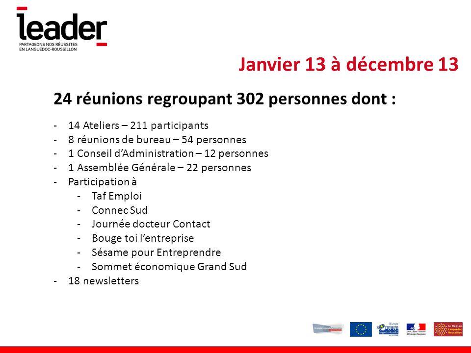 Janvier 13 à décembre 13 24 réunions regroupant 302 personnes dont :