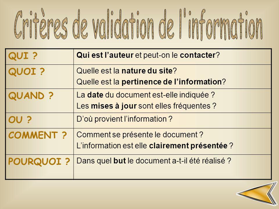 Critères de validation de l information