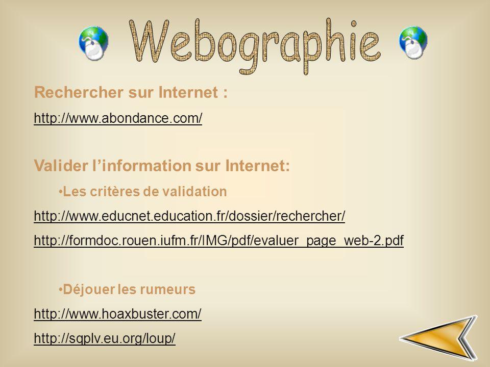 Webographie Rechercher sur Internet :