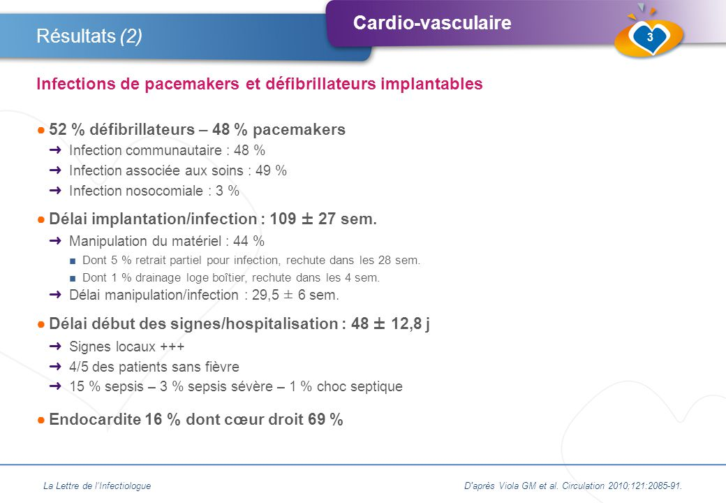 Résultats (2) Infections de pacemakers et défibrillateurs implantables