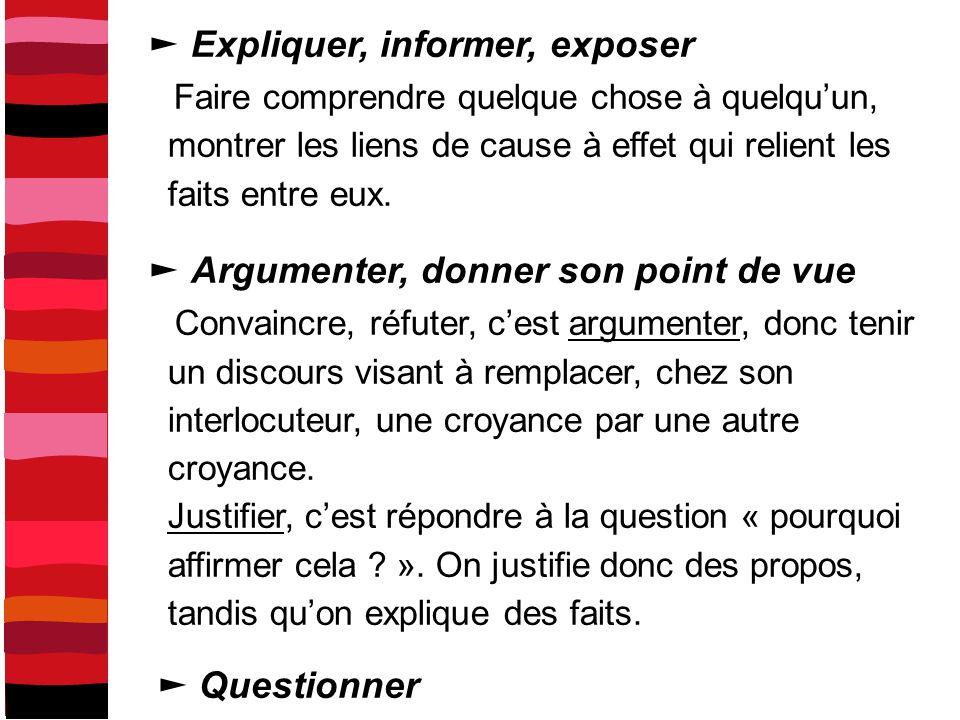 ► Expliquer, informer, exposer
