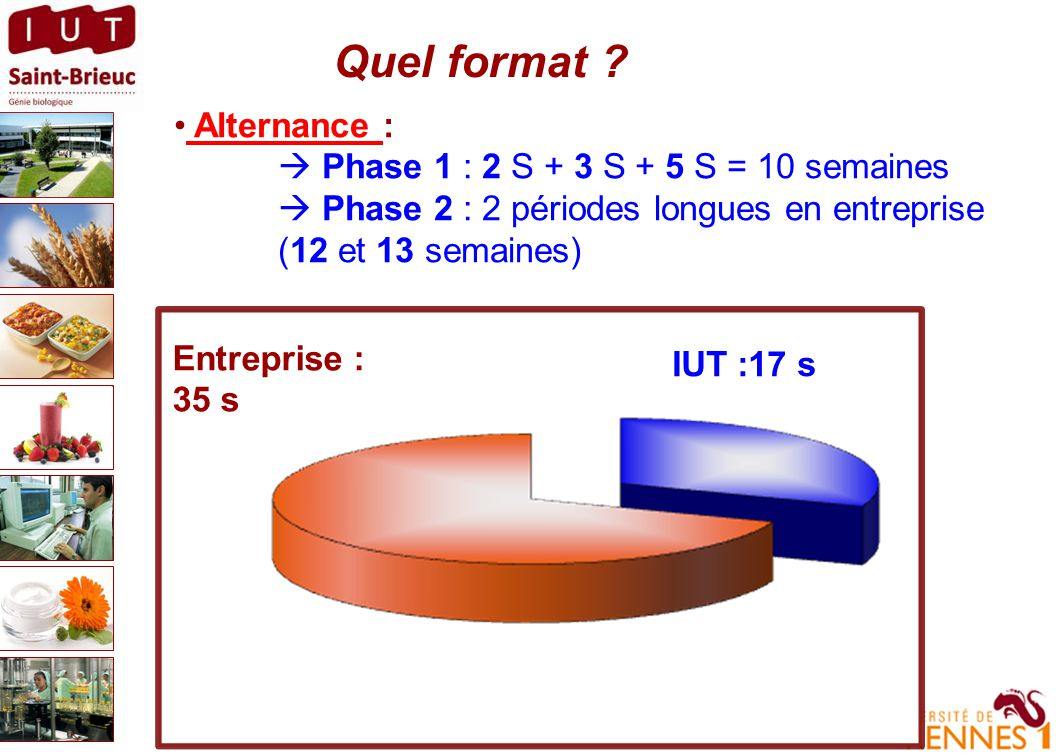 Quel format Alternance :  Phase 1 : 2 S + 3 S + 5 S = 10 semaines