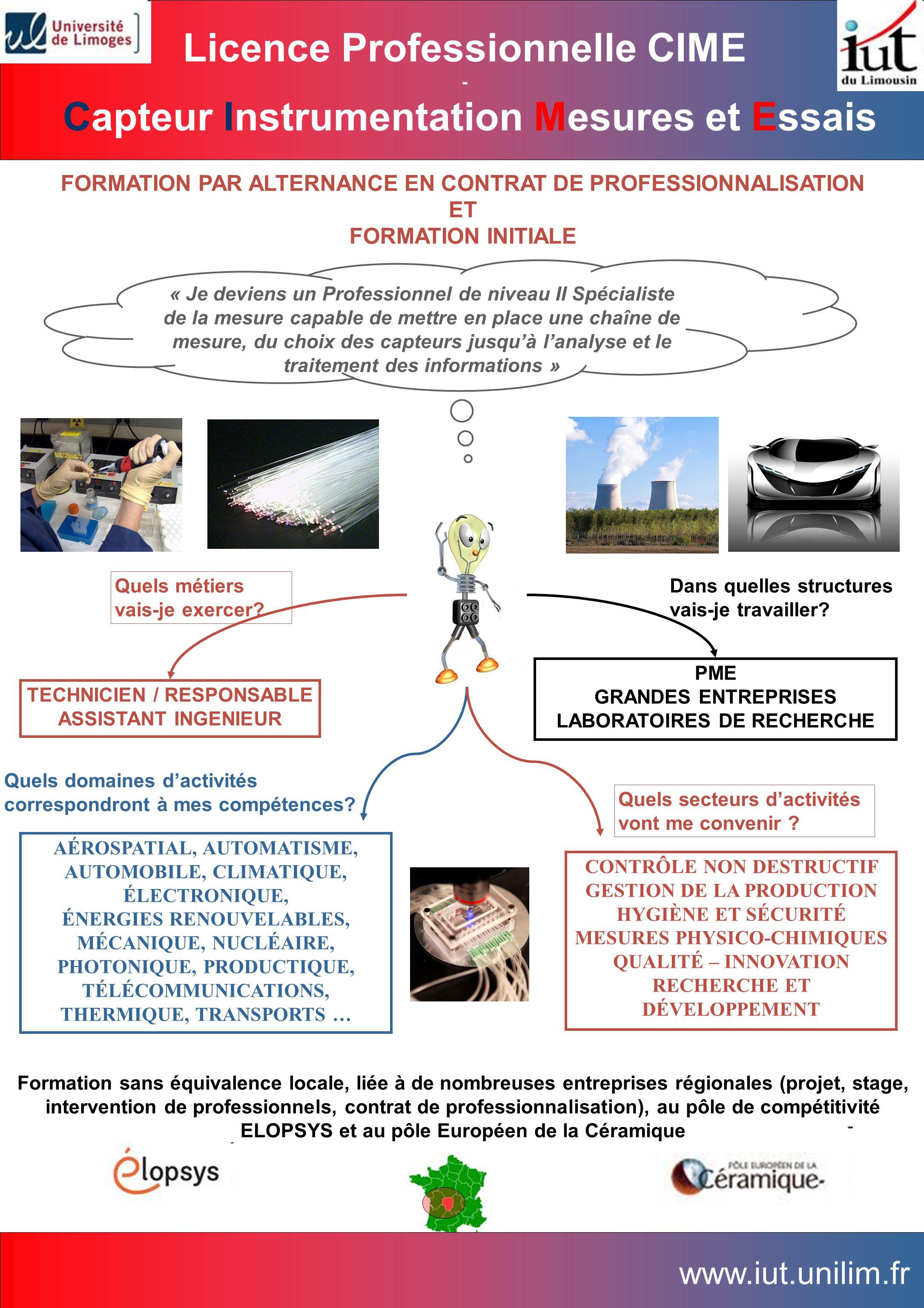 Licence Professionnelle CIME Capteur Instrumentation Mesures et Essais