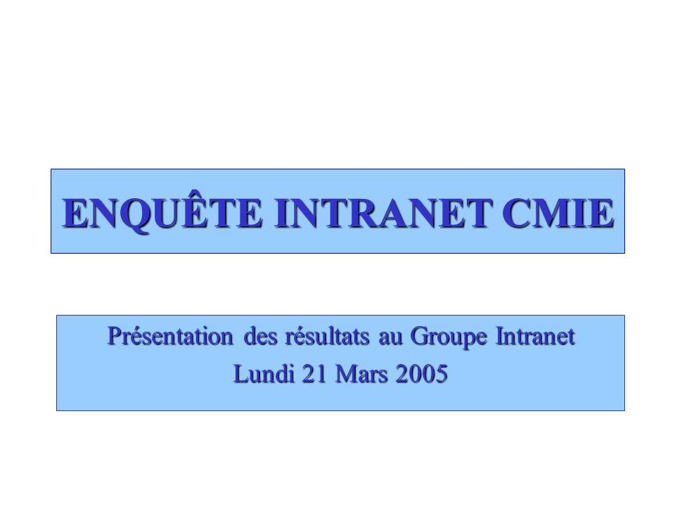 Présentation des résultats au Groupe Intranet Lundi 21 Mars 2005