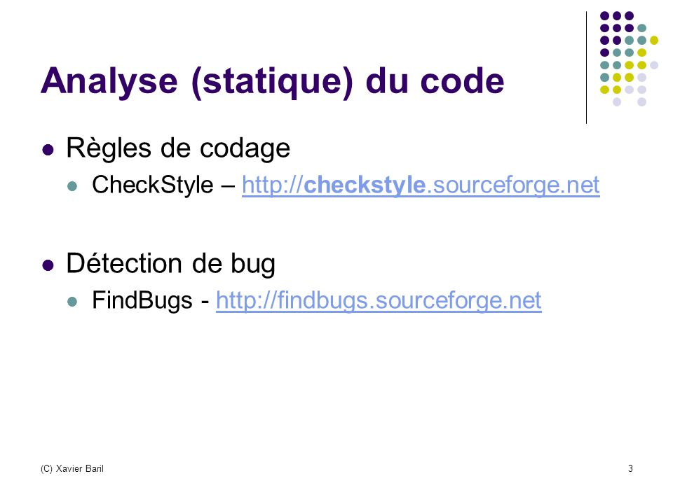 Analyse (statique) du code