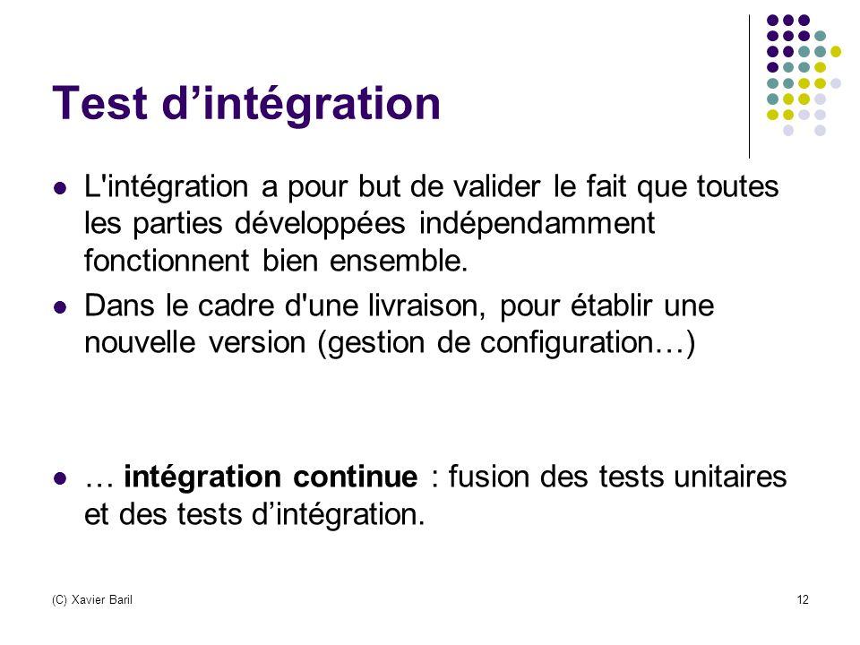 Test d'intégration L intégration a pour but de valider le fait que toutes les parties développées indépendamment fonctionnent bien ensemble.