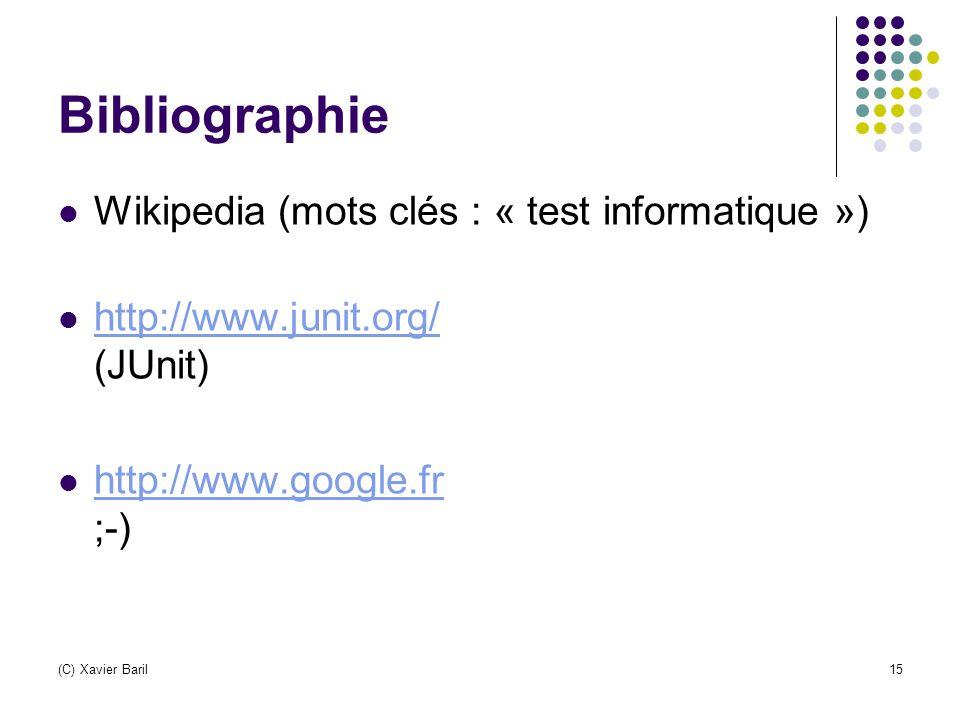 Bibliographie Wikipedia (mots clés : « test informatique »)