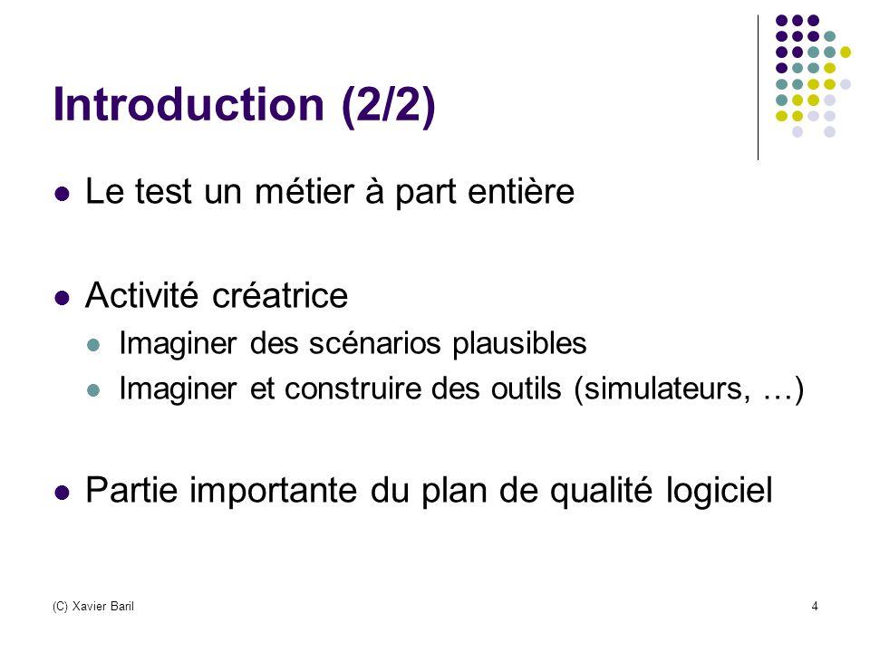 Introduction (2/2) Le test un métier à part entière Activité créatrice