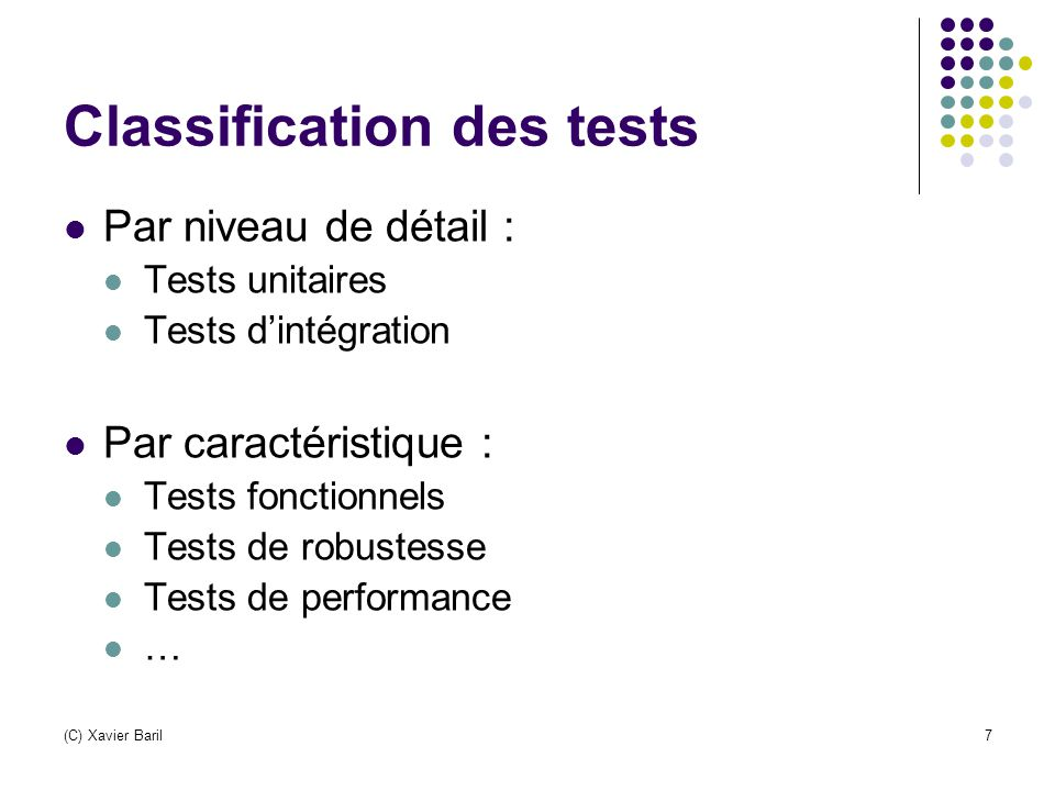 Classification des tests