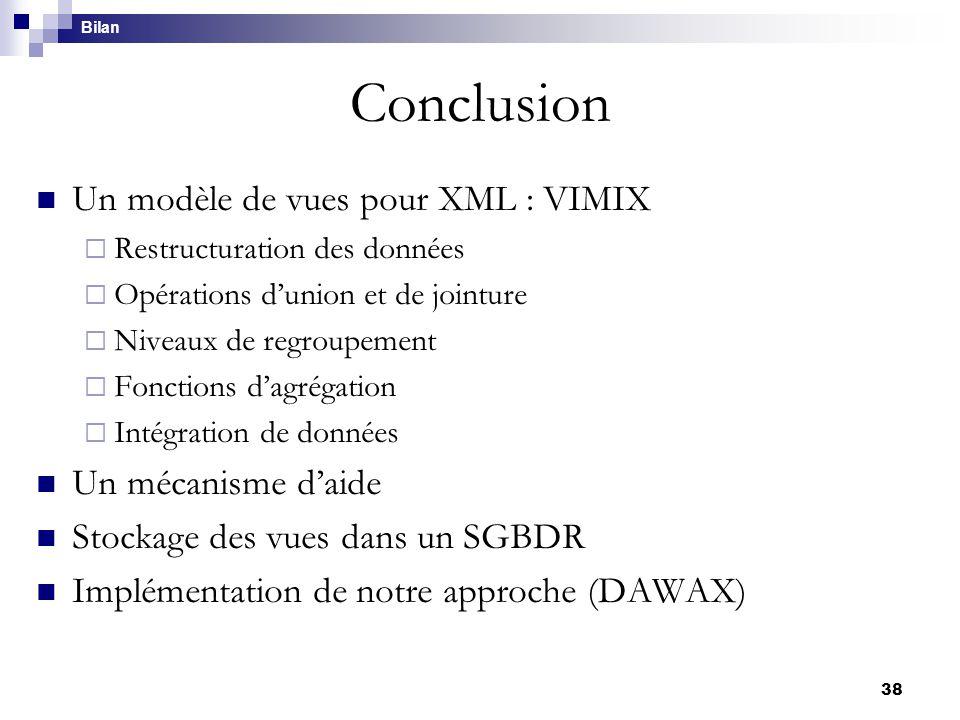 Conclusion Un modèle de vues pour XML : VIMIX Un mécanisme d'aide