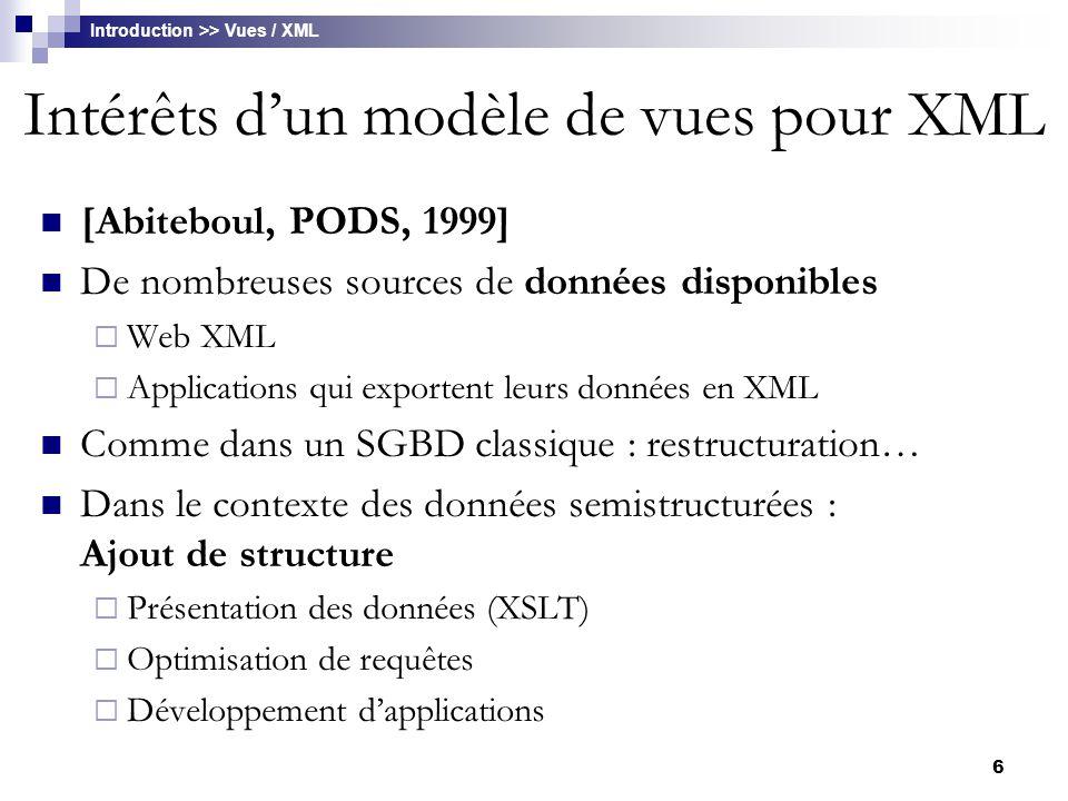 Intérêts d'un modèle de vues pour XML