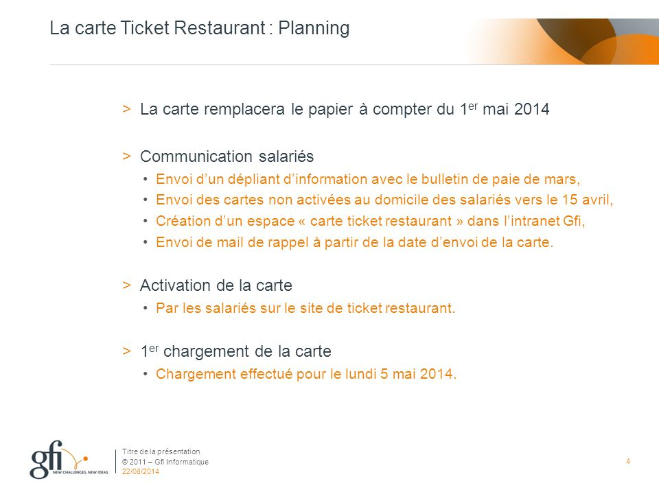 La carte Ticket Restaurant : Planning
