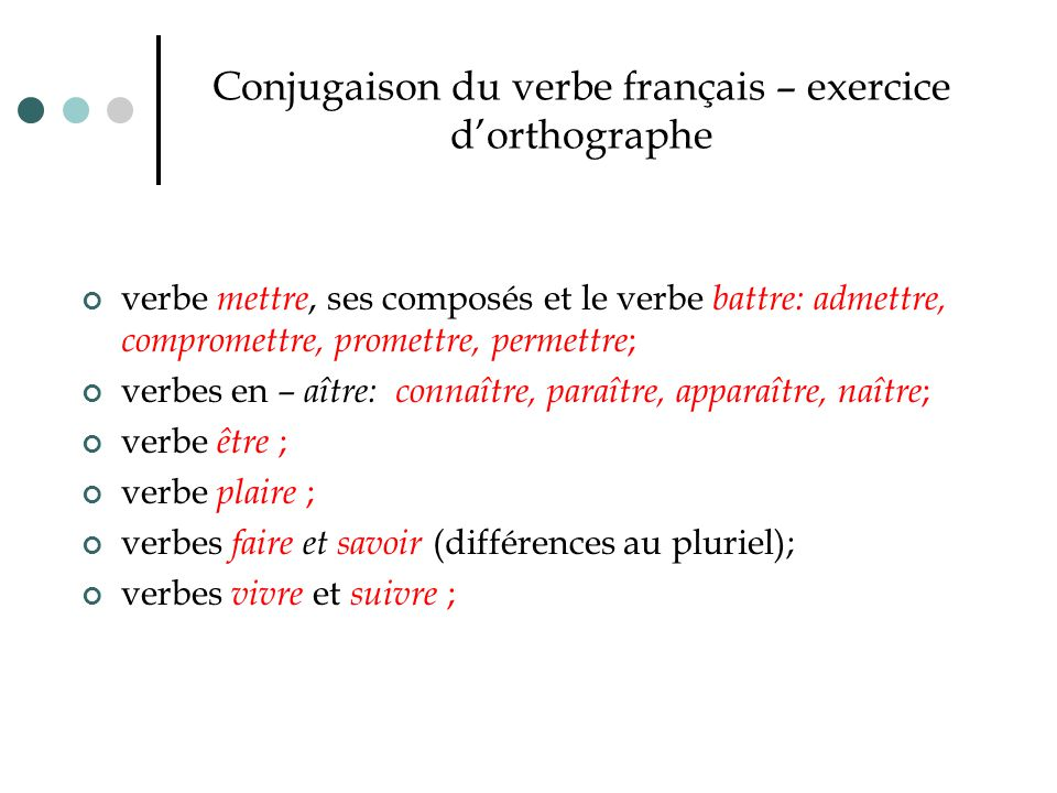 Conjugaison du verbe français – exercice d'orthographe