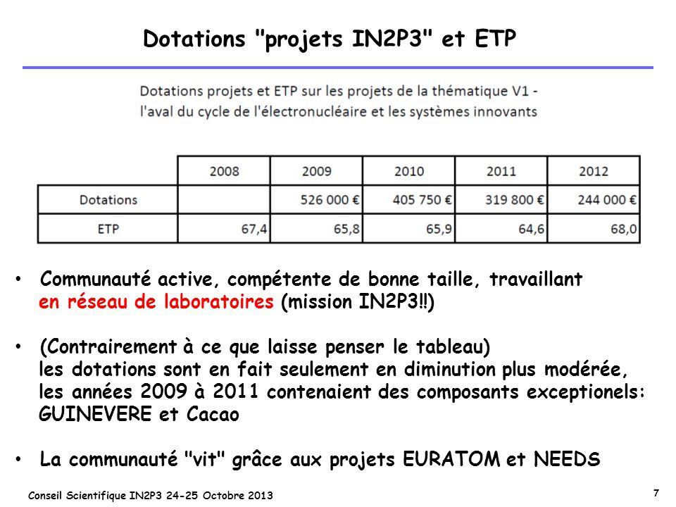 Dotations projets IN2P3 et ETP