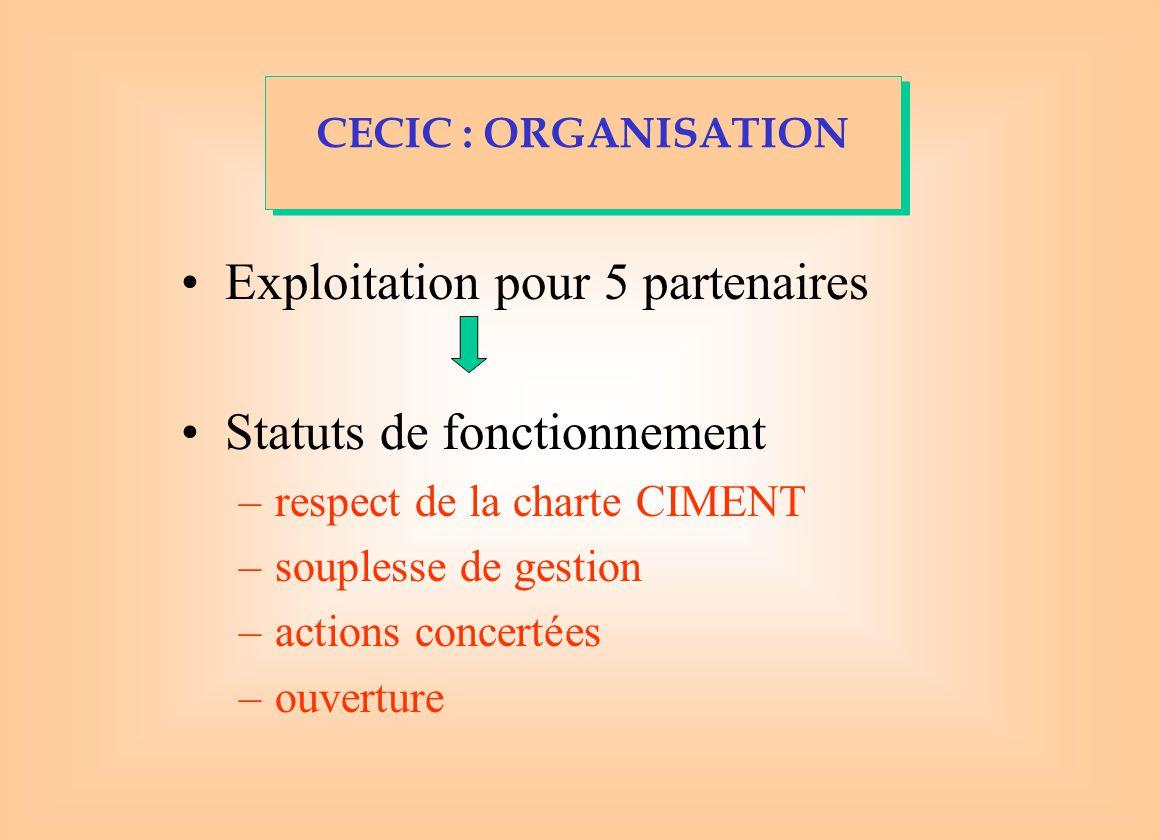 Exploitation pour 5 partenaires Statuts de fonctionnement