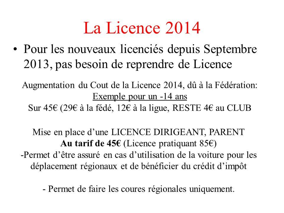 La Licence 2014 Pour les nouveaux licenciés depuis Septembre 2013, pas besoin de reprendre de Licence.