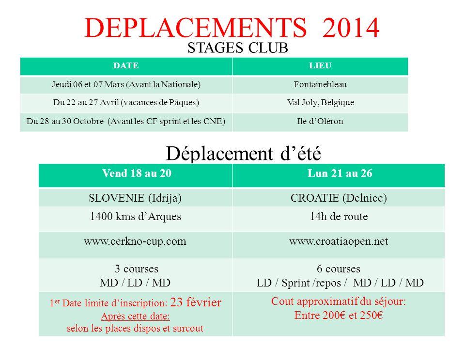 DEPLACEMENTS 2014 Déplacement d'été STAGES CLUB Vend 18 au 20