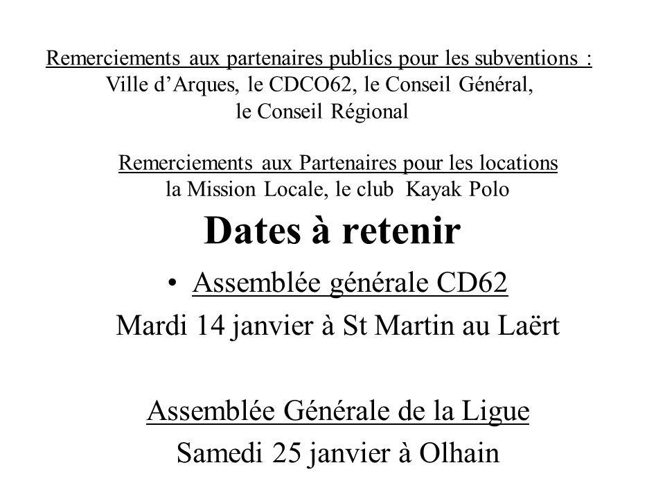 Dates à retenir Assemblée générale CD62