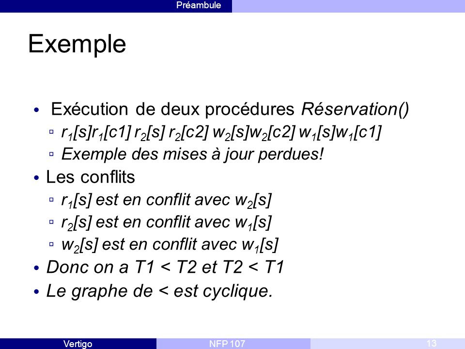Exemple Exécution de deux procédures Réservation() Les conflits