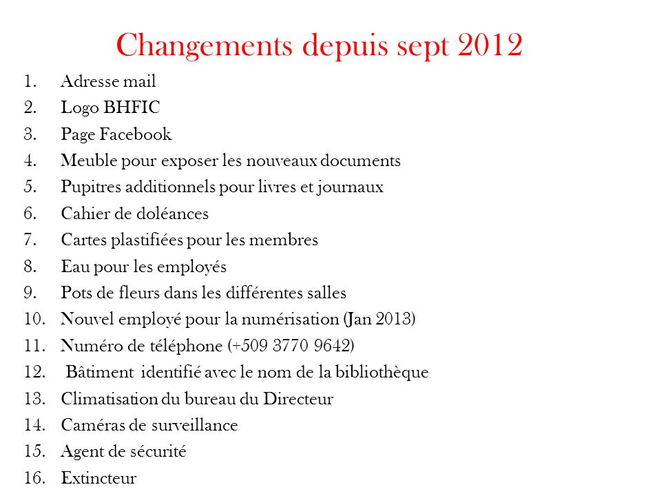 Changements depuis sept 2012