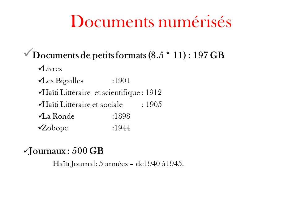 Documents numérisés Documents de petits formats (8.5 * 11) : 197 GB