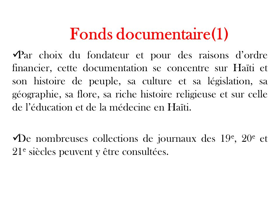 Fonds documentaire(1)