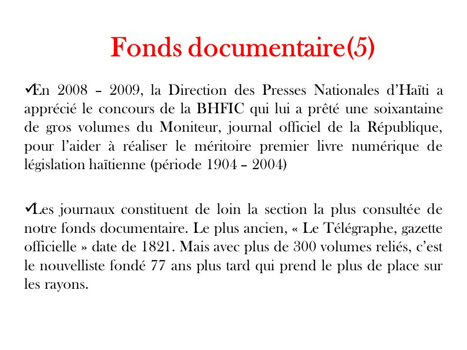 Fonds documentaire(5)