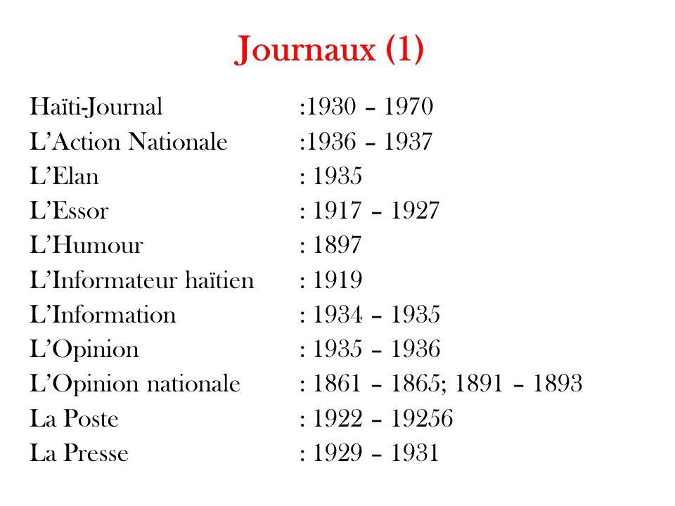 Journaux (1) Haïti-Journal :1930 – 1970