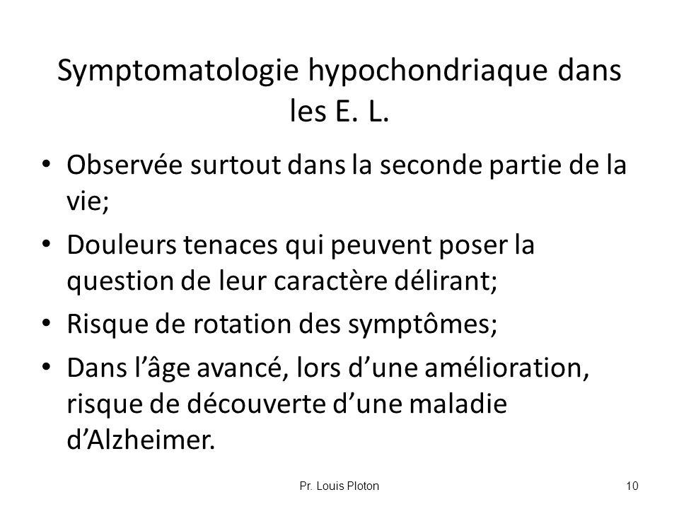 Symptomatologie hypochondriaque dans les E. L.