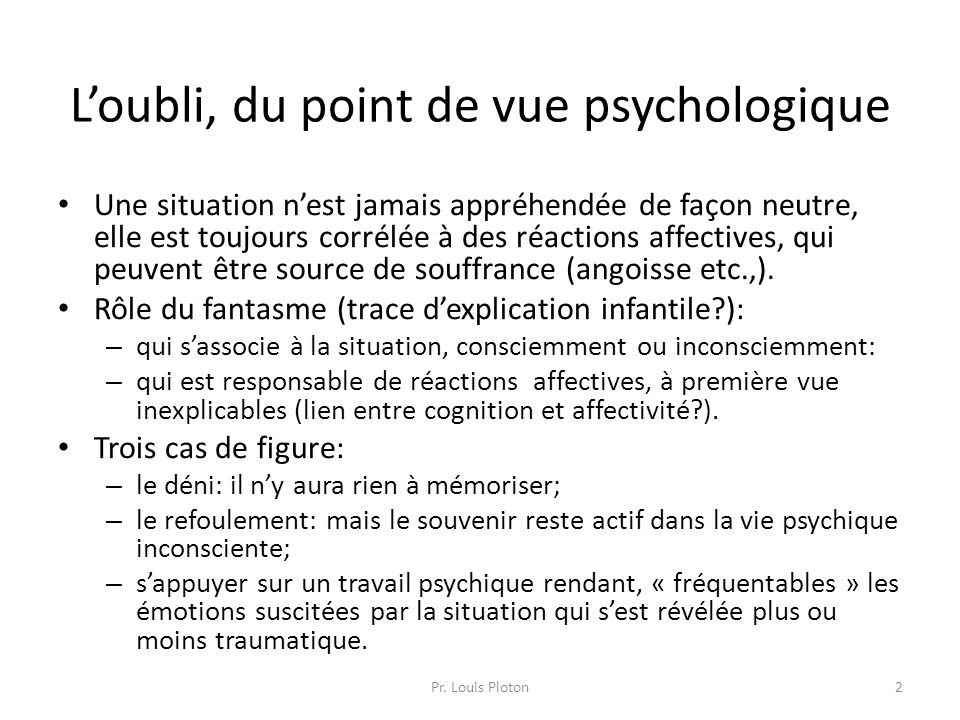 L'oubli, du point de vue psychologique
